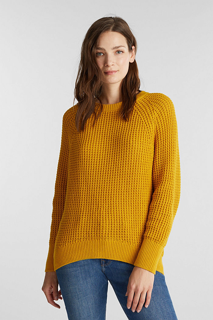 Jumper made of 100% organic cotton, BRASS YELLOW, detail image number 0