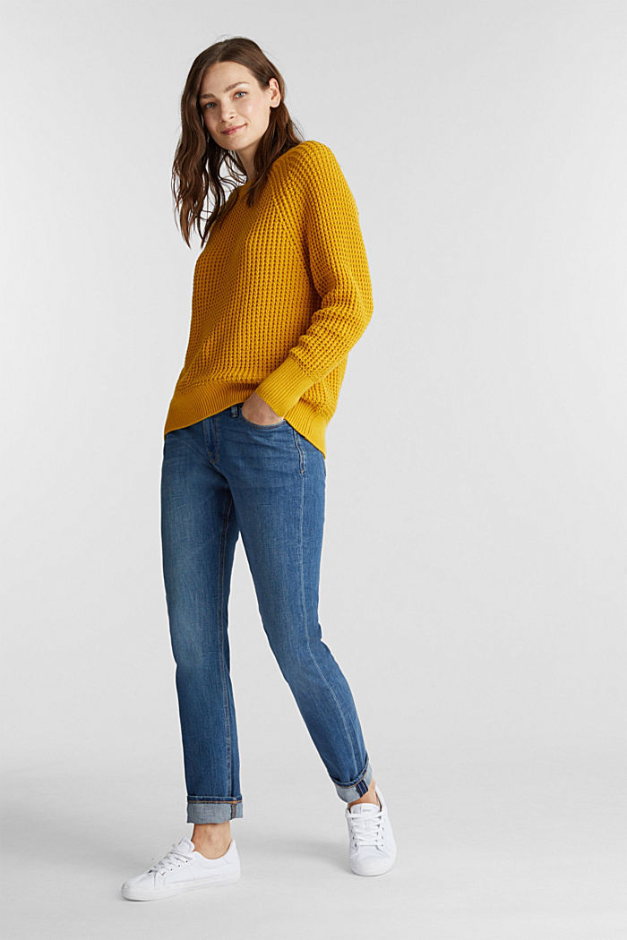 Jumper made of 100% organic cotton, BRASS YELLOW, detail image number 1