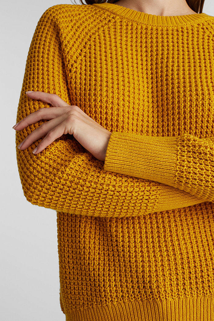 Jumper made of 100% organic cotton, BRASS YELLOW, detail image number 2