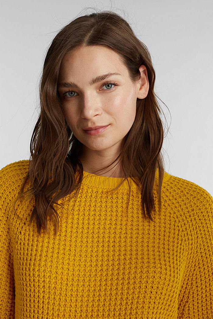 Jumper made of 100% organic cotton, BRASS YELLOW, detail image number 5