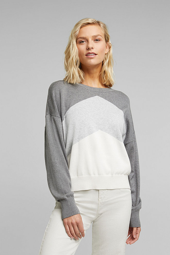 Colour block jumper in 100% organic cotton, GREY, detail image number 0