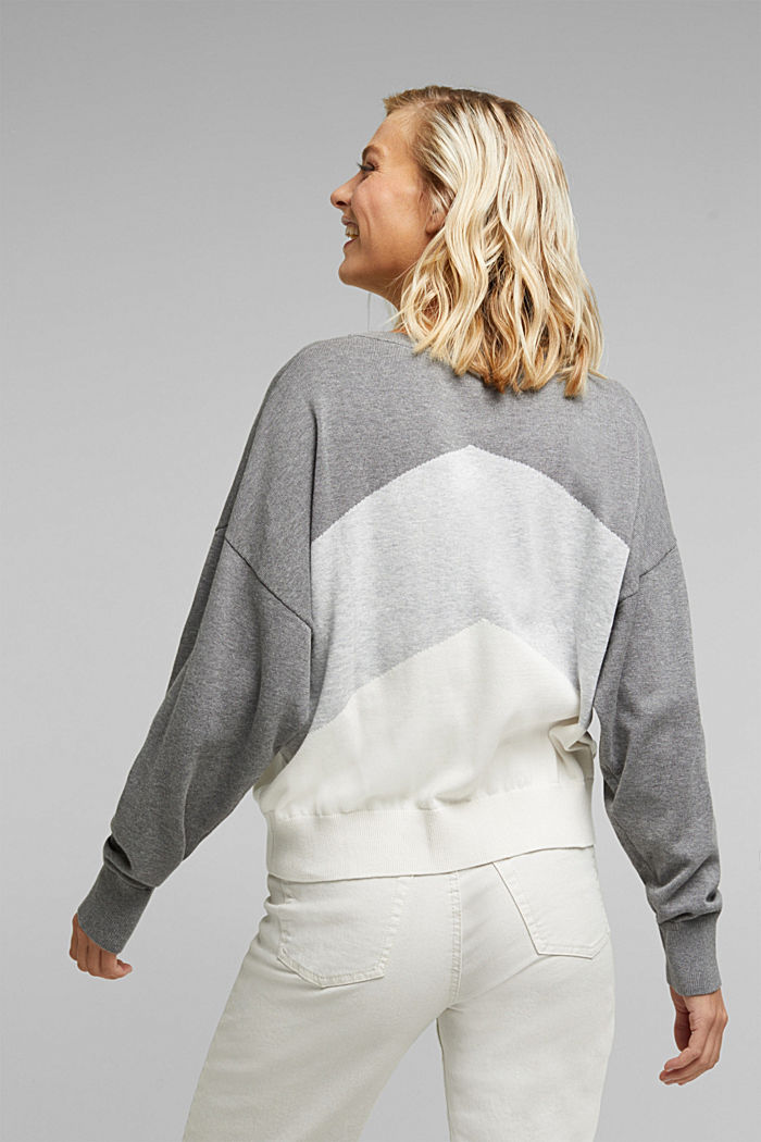 Colour block jumper in 100% organic cotton, GREY, detail image number 3