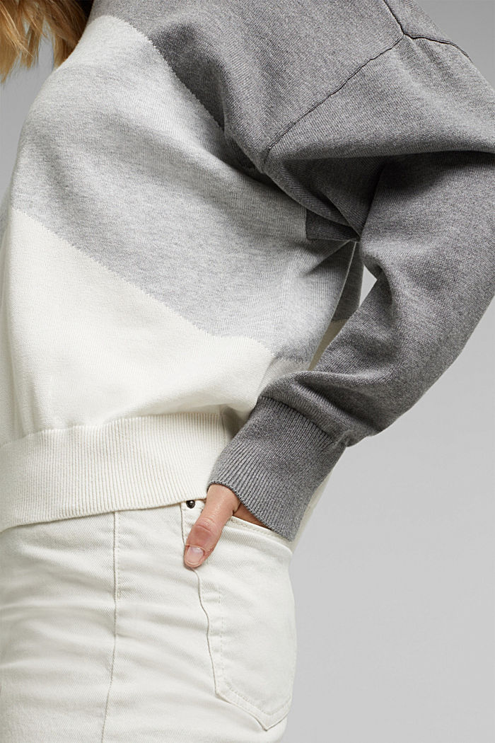 Colour block jumper in 100% organic cotton, GREY, detail image number 2