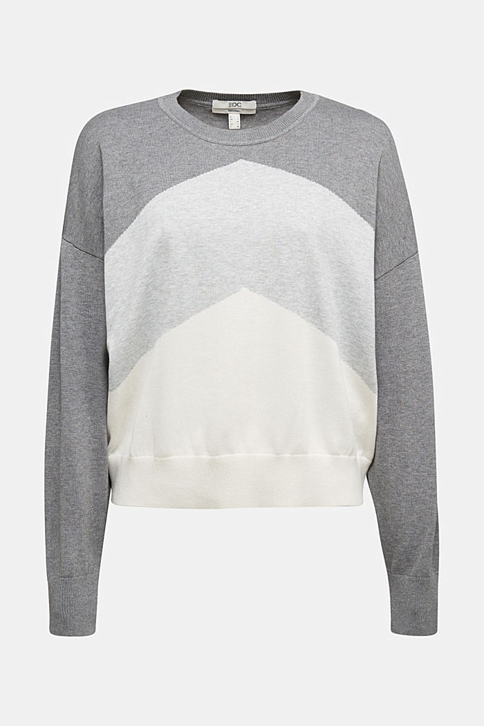 Colour block jumper in 100% organic cotton, GREY, detail image number 5