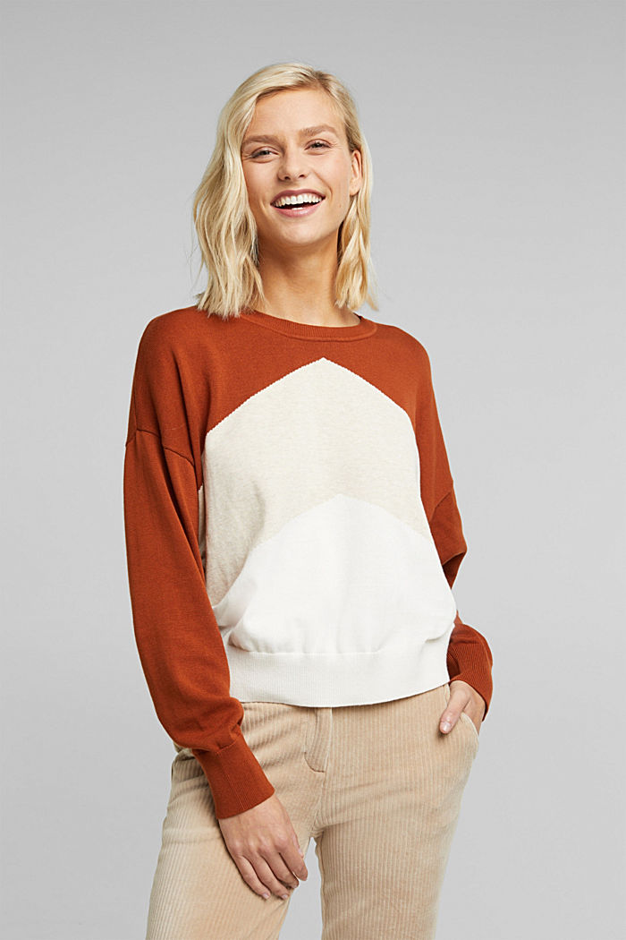 Colour block jumper in 100% organic cotton