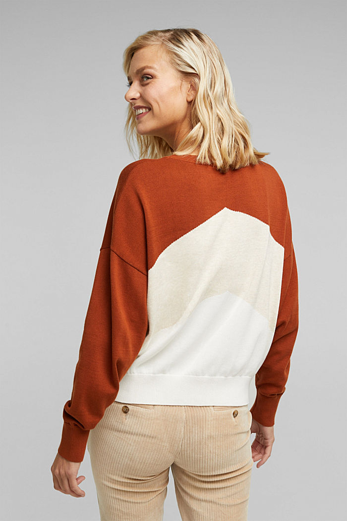 Colour block jumper in 100% organic cotton, RUST BROWN, detail image number 3