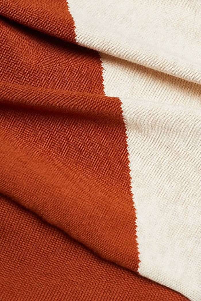 Colour block jumper in 100% organic cotton, RUST BROWN, detail image number 4
