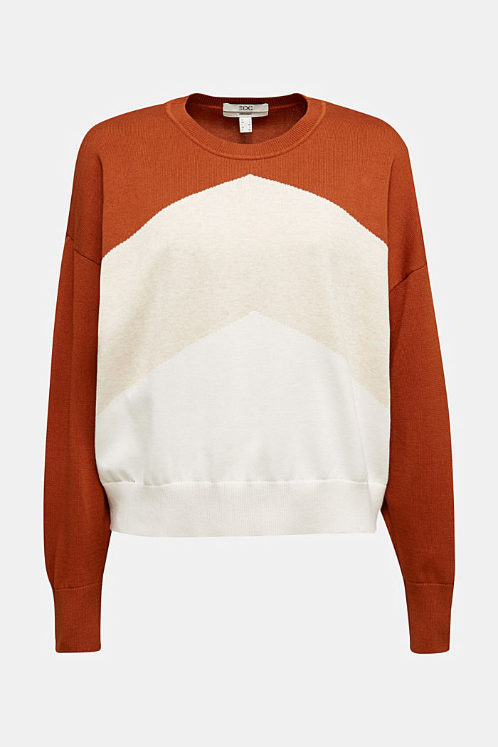 Colour block jumper in 100% organic cotton, RUST BROWN, detail image number 5