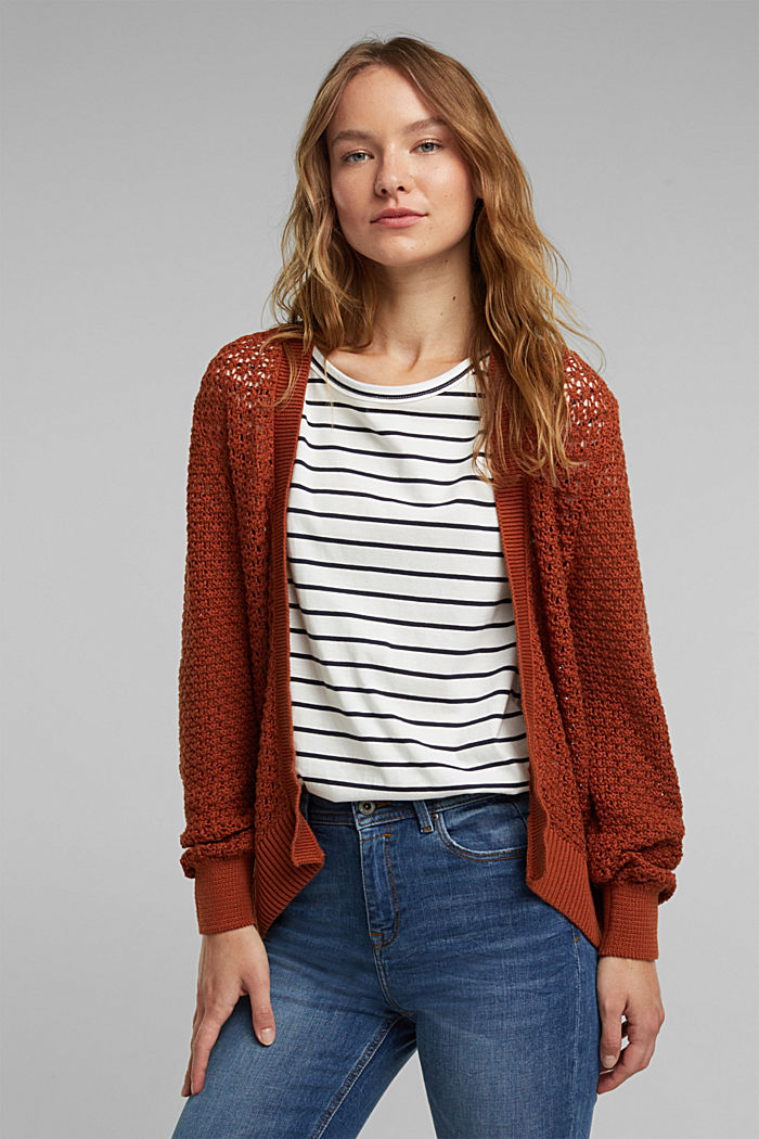 Cardigan made of 100% organic cotton, RUST BROWN, detail image number 0