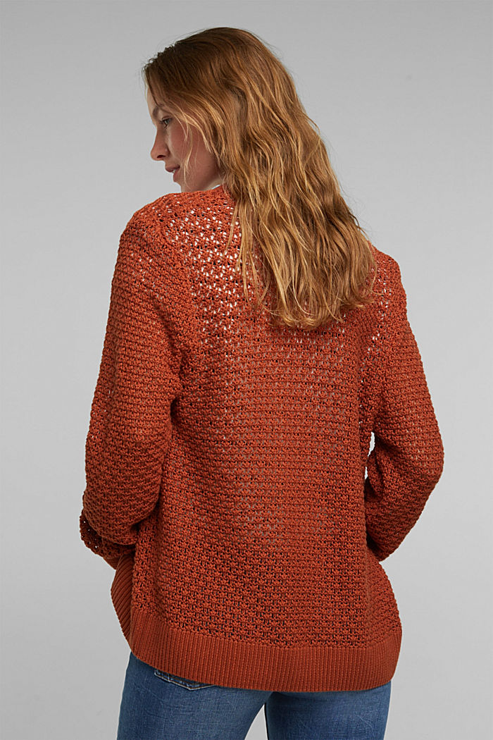 Cardigan made of 100% organic cotton, RUST BROWN, detail image number 3
