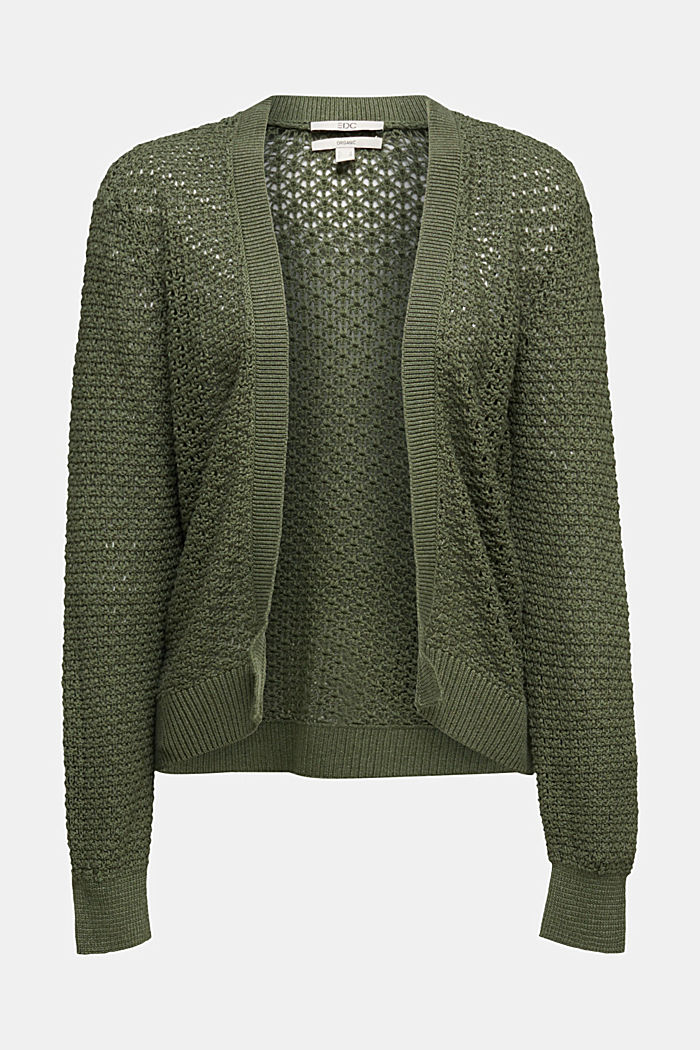 Cardigan made of 100% organic cotton, KHAKI GREEN, overview