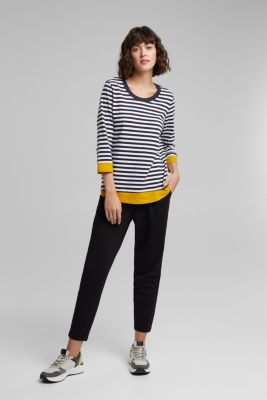 Long sleeve top made of organic cotton, NAVY, detail
