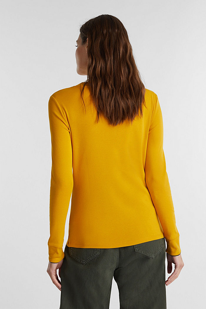Long sleeve top made of 100% organic cotton, BRASS YELLOW, detail image number 3