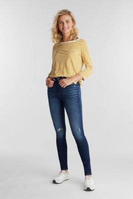 Recycled: Long sleeve top with organic cotton, BRASS YELLOW, detail