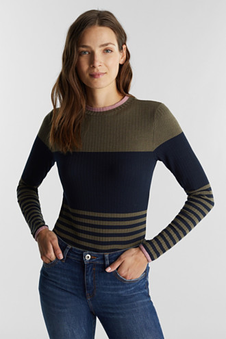 Long sleeve top with block stripes