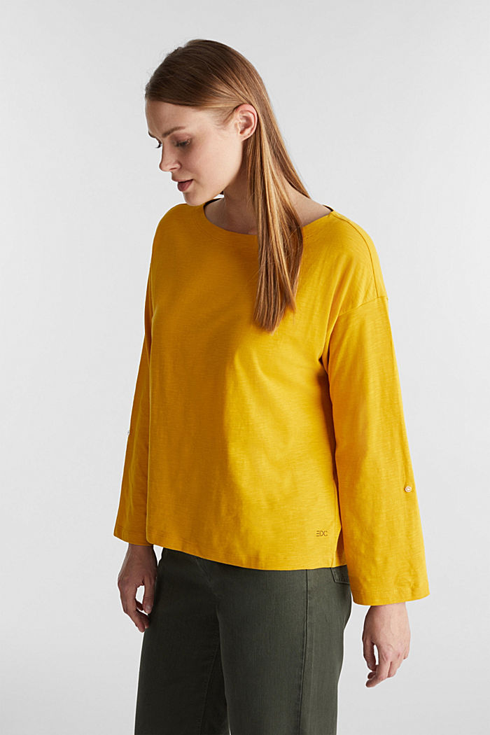 Long sleeve top made of 100% organic cotton, BRASS YELLOW, detail image number 0