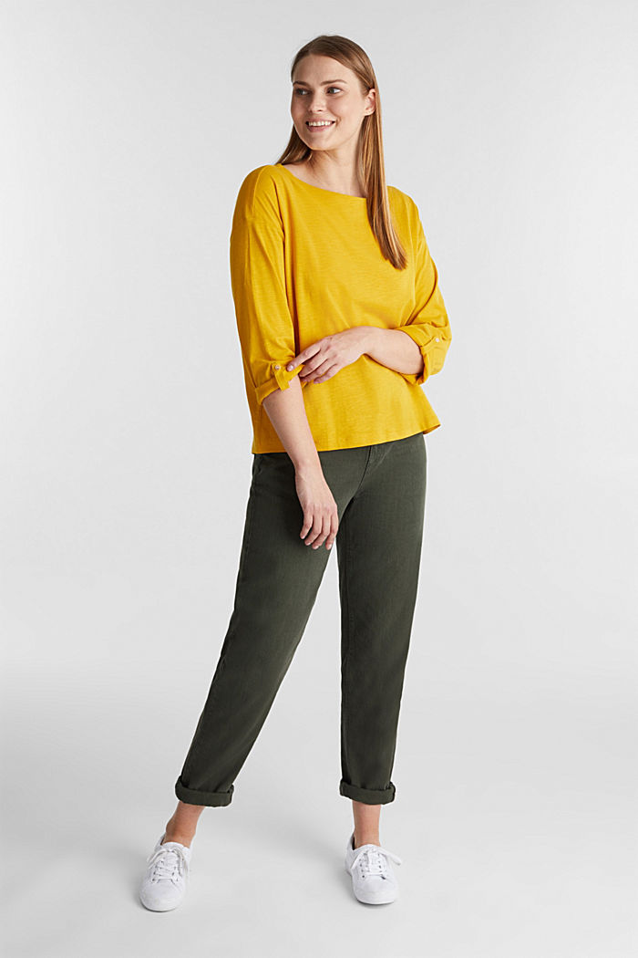 Long sleeve top made of 100% organic cotton, BRASS YELLOW, detail image number 4