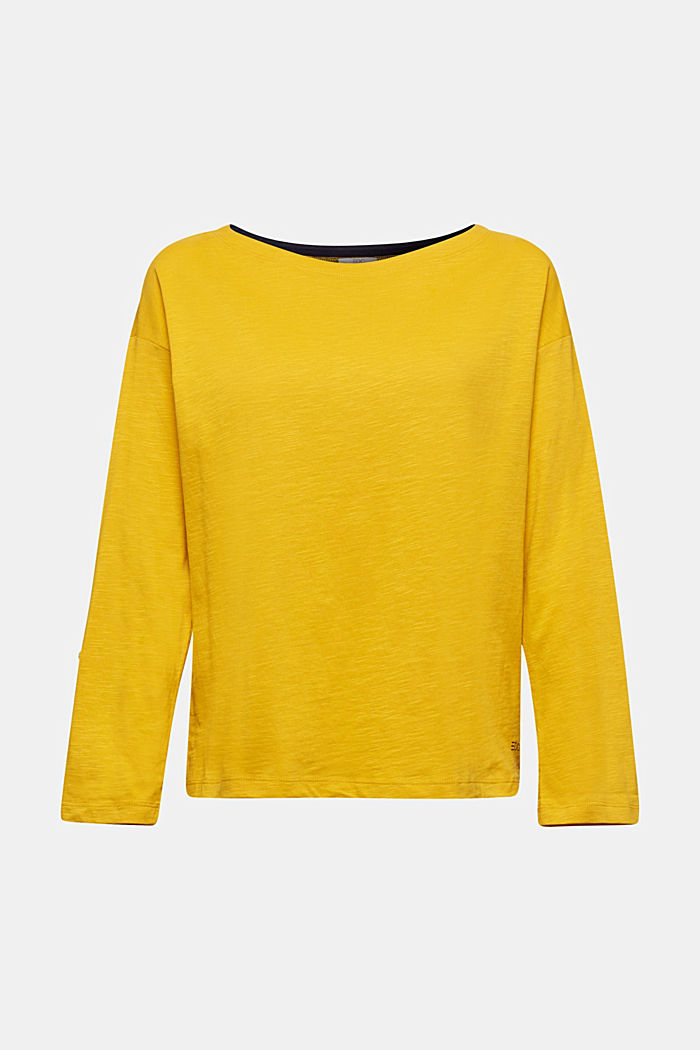 Long sleeve top made of 100% organic cotton, BRASS YELLOW, detail image number 5