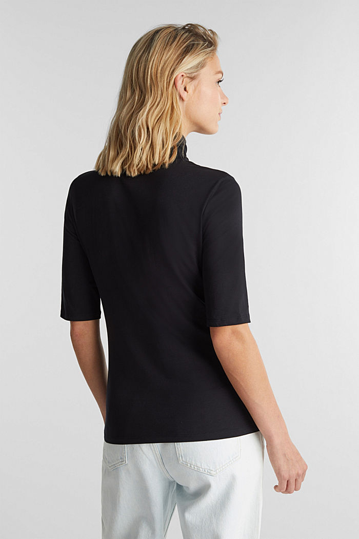 Short-sleeved top with a polo neck, BLACK, detail image number 3