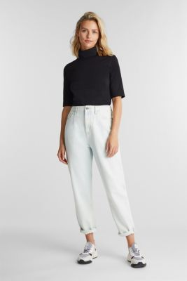 Short-sleeved top with a polo neck, BLACK, detail