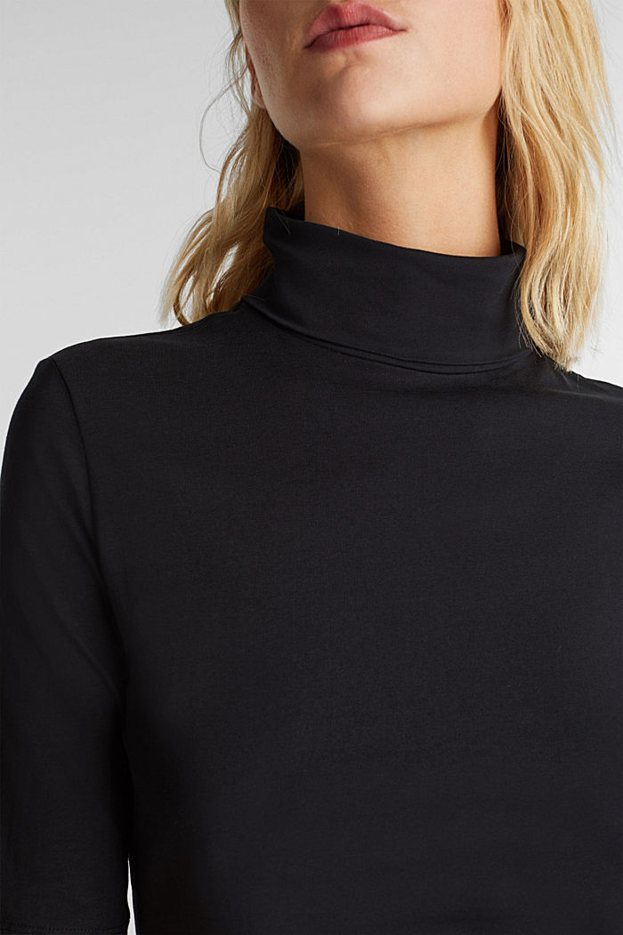 Short-sleeved top with a polo neck, BLACK, detail image number 2