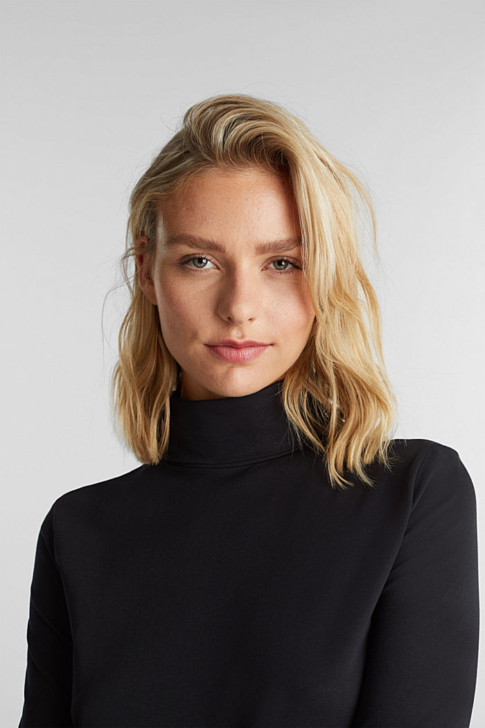 Short-sleeved top with a polo neck, BLACK, detail image number 5