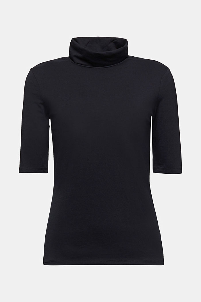 Short-sleeved top with a polo neck, BLACK, detail image number 6