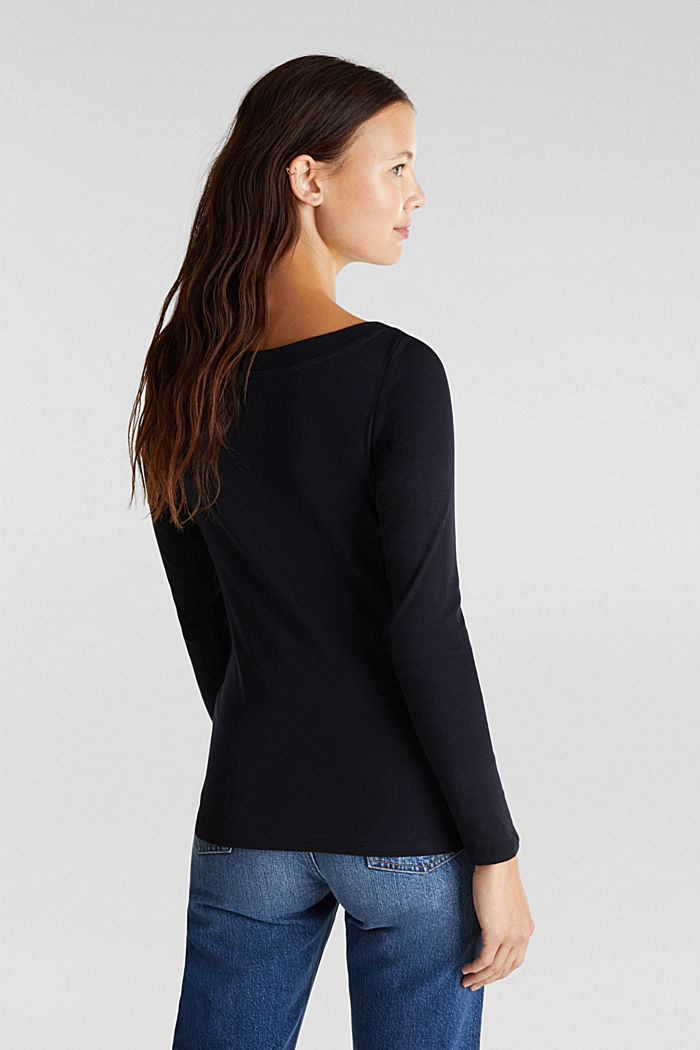 Long sleeve top with a bateau neckline made of organic cotton, BLACK, detail image number 3