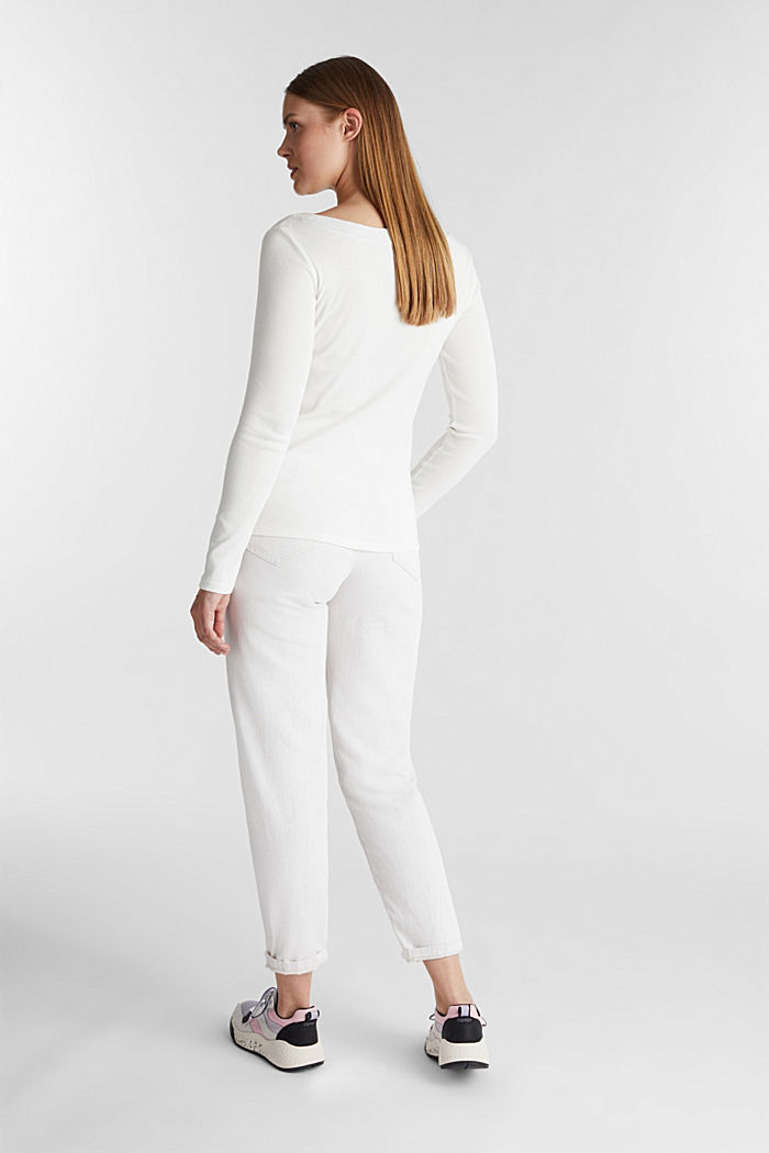Long sleeve top with a bateau neckline made of organic cotton, OFF WHITE, detail image number 3