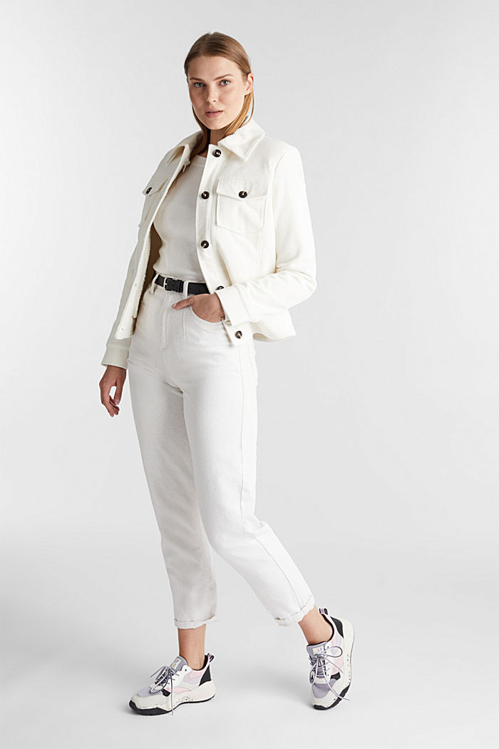 Long sleeve top with a bateau neckline made of organic cotton, OFF WHITE, detail image number 1
