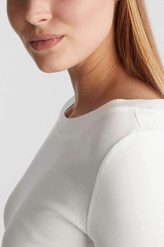 Long sleeve top with a bateau neckline made of organic cotton, OFF WHITE, detail image number 2