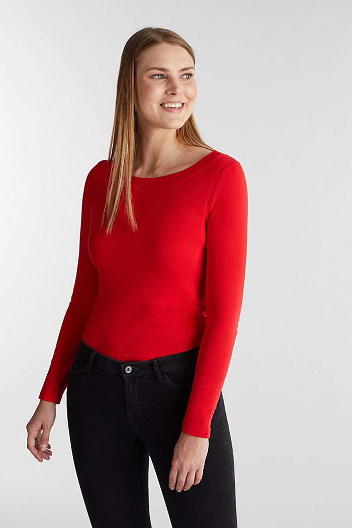 Long sleeve top with a bateau neckline made of organic cotton, RED, detail image number 0
