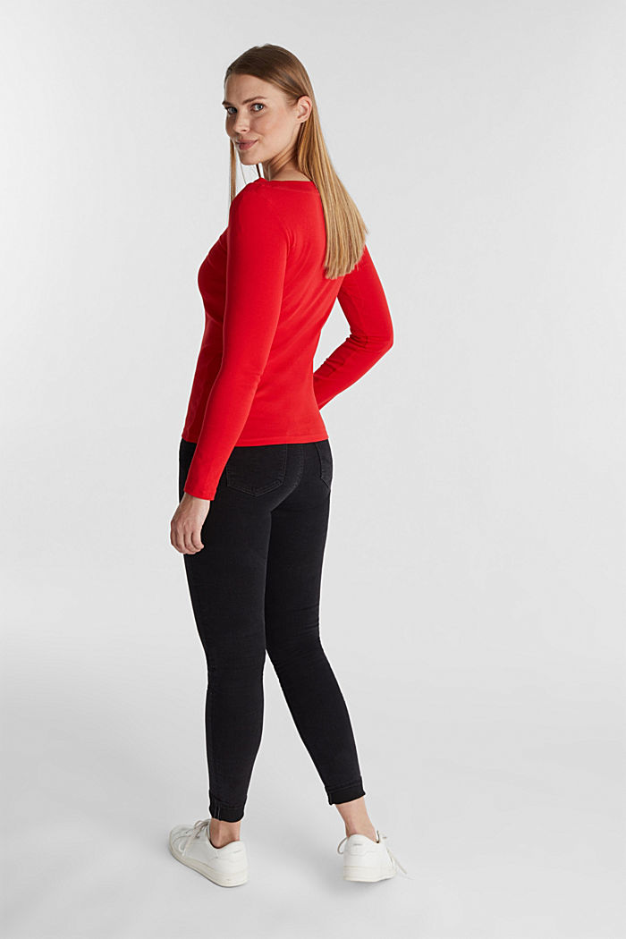 Long sleeve top with a bateau neckline made of organic cotton, RED, detail image number 3