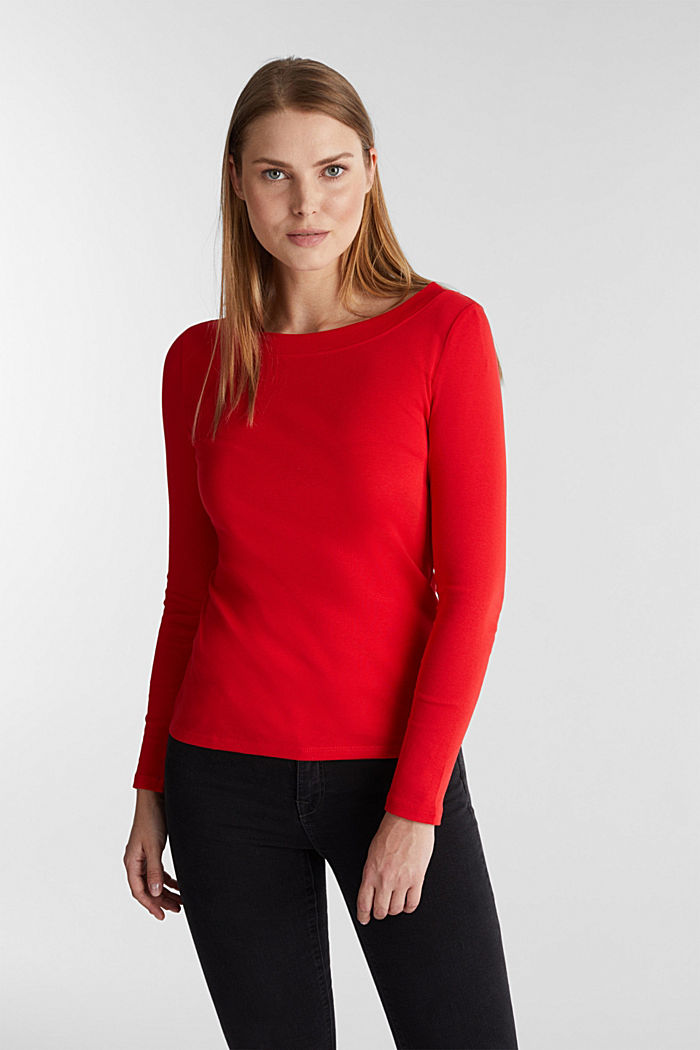 Long sleeve top with a bateau neckline made of organic cotton, RED, detail image number 5