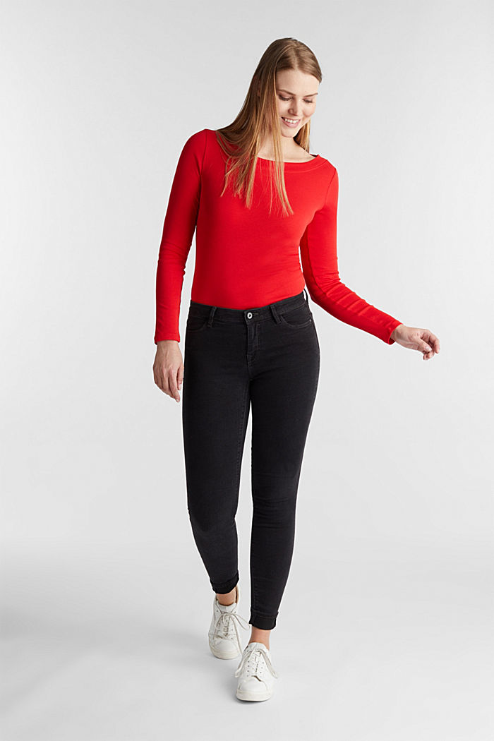 Long sleeve top with a bateau neckline made of organic cotton, RED, detail image number 1