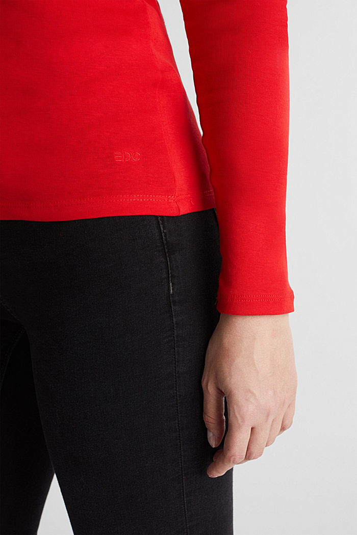 Long sleeve top with a bateau neckline made of organic cotton, RED, detail image number 2