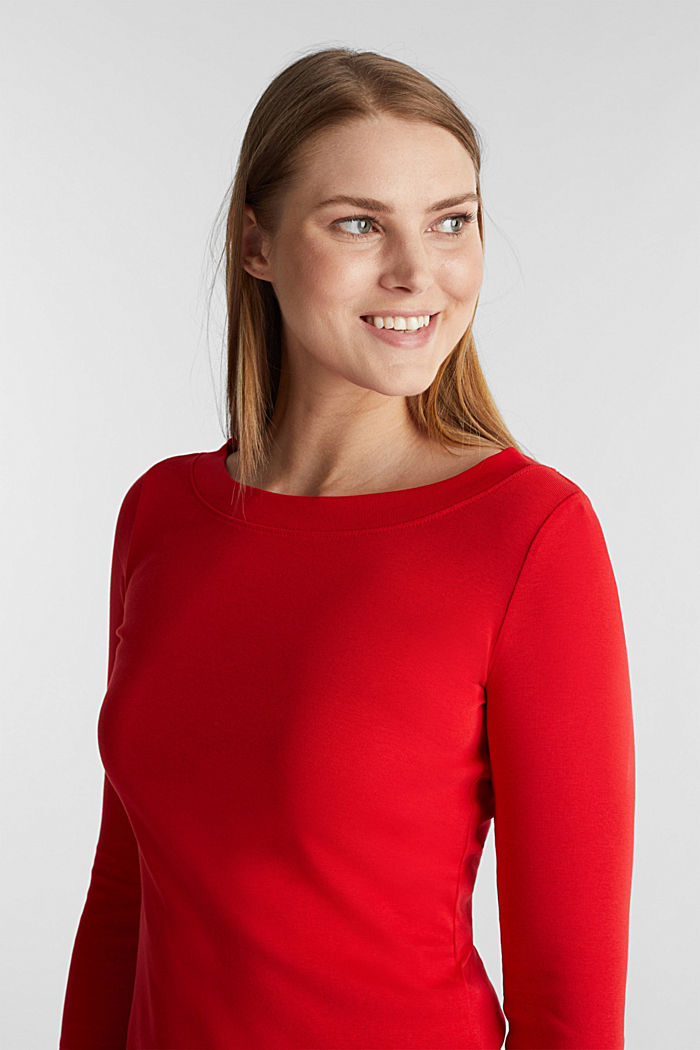 Long sleeve top with a bateau neckline made of organic cotton, RED, detail image number 6