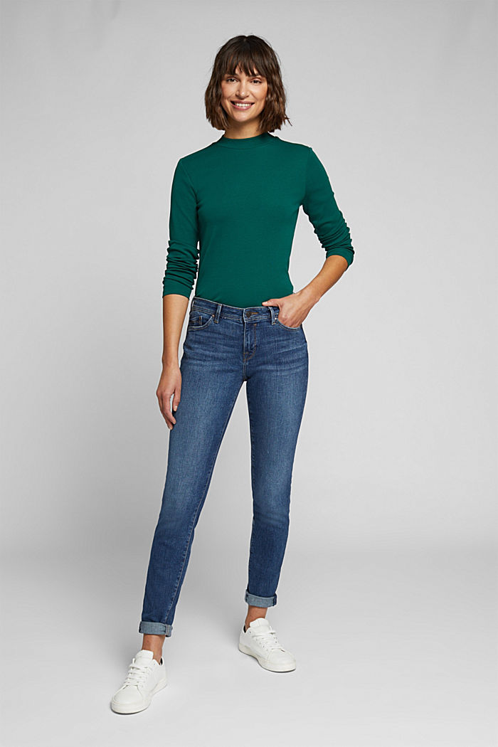 Long sleeve top made of 100% organic cotton, DARK TEAL GREEN, detail image number 1