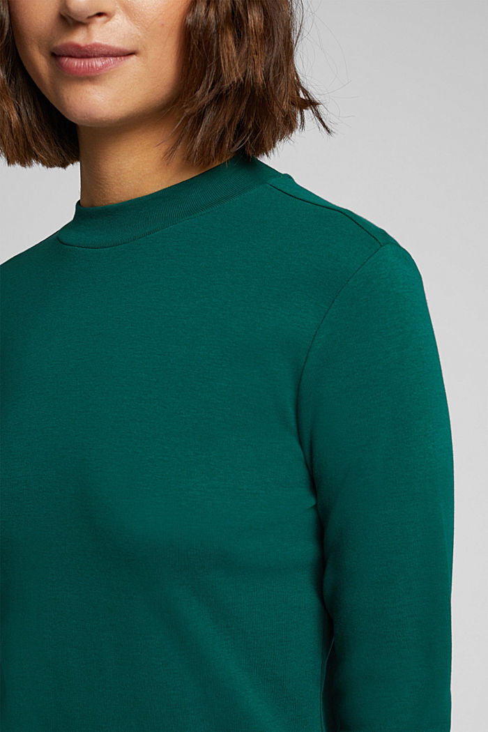 Long sleeve top made of 100% organic cotton, DARK TEAL GREEN, detail image number 2