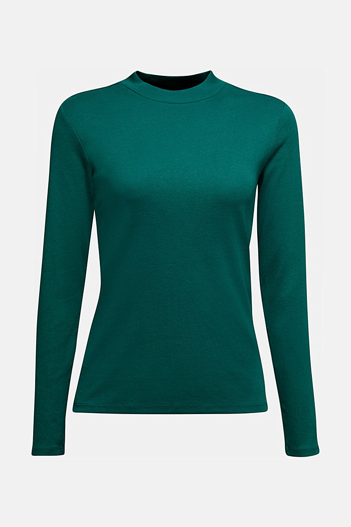 Long sleeve top made of 100% organic cotton, DARK TEAL GREEN, detail image number 5