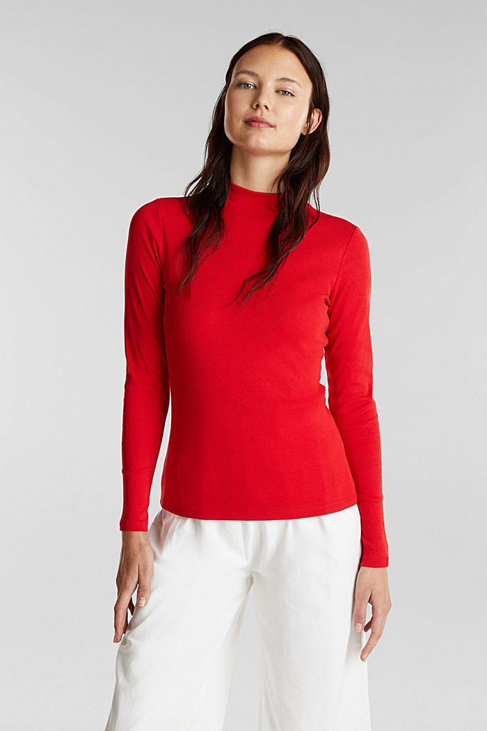 Long sleeve top made of 100% organic cotton, RED, detail image number 0