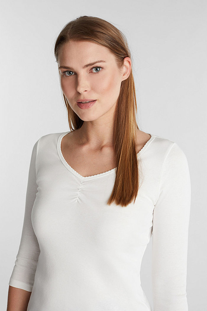 Jersey top made of 100% organic cotton, OFF WHITE, detail image number 5