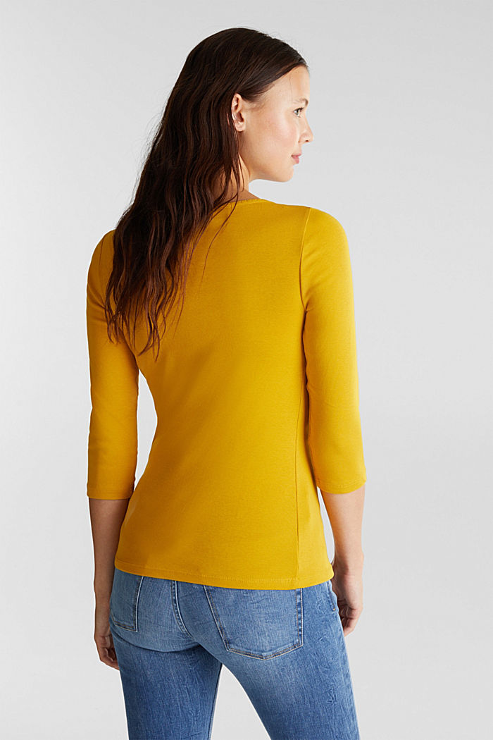Jersey top made of 100% organic cotton, BRASS YELLOW, detail image number 3