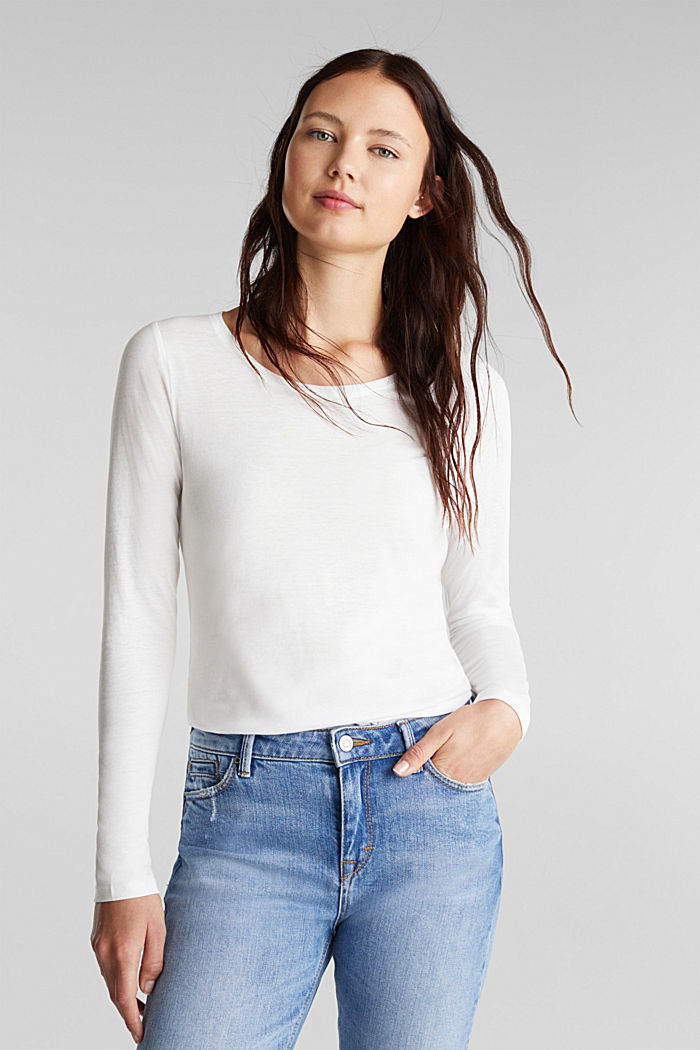 Recycled: Long sleeve top with organic cotton, OFF WHITE, detail image number 0