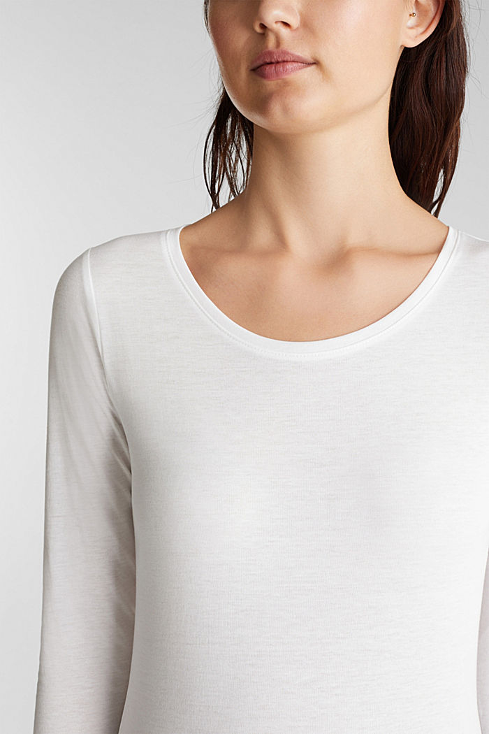 Recycled: Long sleeve top with organic cotton, OFF WHITE, detail image number 2