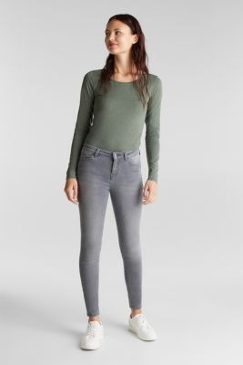 Recycled: Long sleeve top with organic cotton, LIGHT KHAKI 4, detail