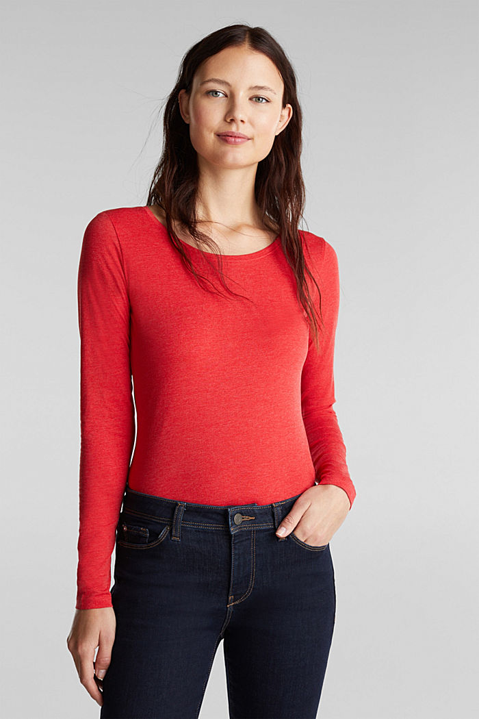 Recycled: Long sleeve top with organic cotton, RED, detail image number 0