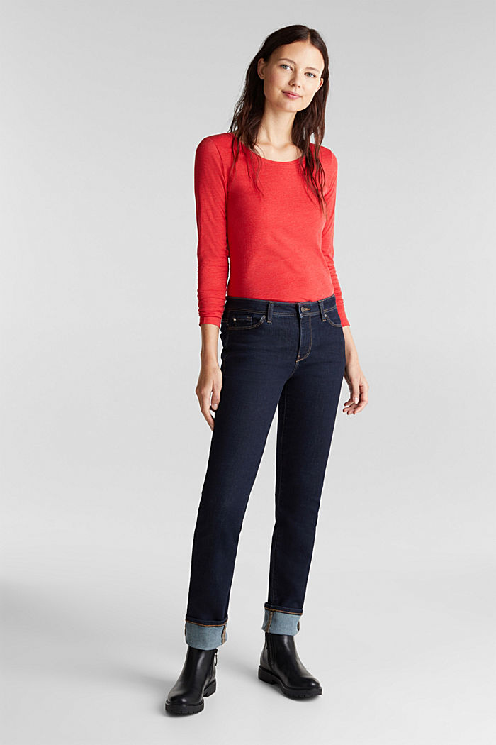 Recycled: Long sleeve top with organic cotton, RED, detail image number 1