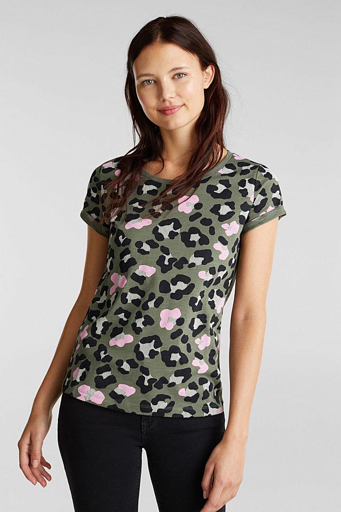 Printed T-shirt in 100% organic cotton, LIGHT KHAKI, detail image number 0