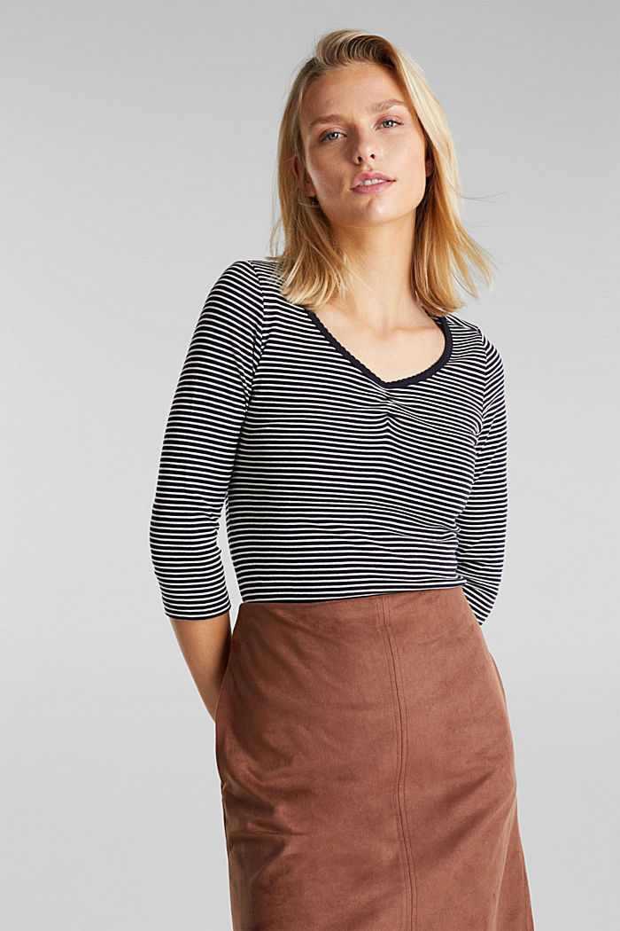 Striped top, 100% organic cotton, NAVY, detail image number 5